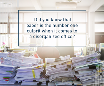 Paper is the number one culprit when it comes to a disorganized office